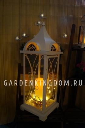 Фонарь - подсвечник, 72 см,  металл, стекло, бежевый