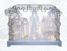 Светильник рождественский ЗИМНИЙ ВЕЧЕР, 27 см, на батарейках, белый