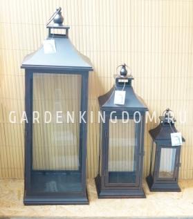 Фонарь - подсвечник, 34 см,  металл, стекло, коричневый