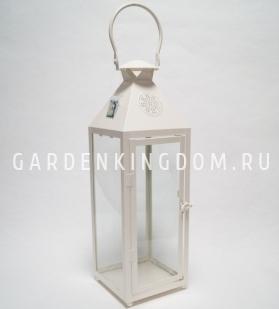 Фонарь - подсвечник, 54,5 см,  металл, стекло, кремовый