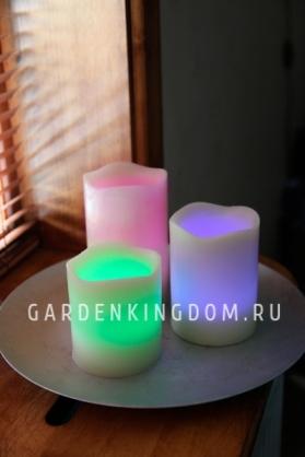 Комплект свечей меняющих цвет с  пультом,  3 шт., таймер, желтый  воск