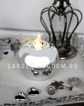 Свеча Яблоко, 5 см,  пластик, серебро