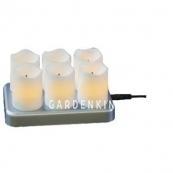 Комплект свечей с подзарядкой, 6 шт., 7,5 см, пластик, белый