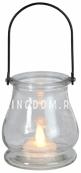 Светильник фонарь  со свечкой на батарейках GLASS JAR LANTERN, 9,5 см
