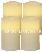 Комплект свечей, 12,5 см, 4 шт.,таймер, бежевый воск