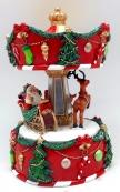 """Музыкальная шкатулка """"Санта и Олень"""", диаметр 13,5 см."""