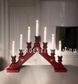 Горка рождественская SARA TRADITION, 7 свечей, 38 см, темно-красный
