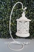 Фонарь - подсвечник на подставке цветок, 27 см, металл, белый