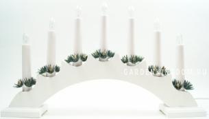 Горка рождественская VERA, 7 свечей, 23 см, белый