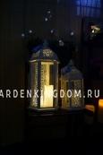 Фонарь - подсвечник ажурный, 48 см,  металл, стекло, белый