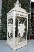 Фонарь - подсвечник, 52 см,  металл, стекло, белый