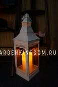 Фонарь - подсвечник, 58 см,  металл, стекло, белый