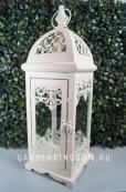 Фонарь - подсвечник кружевной, 41 см,  металл, стекло, белый