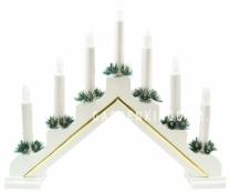"""Горка рождественская """"Рождество Lux"""", 7 свечей, 31 см, белый с золотой полосой"""