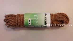 Шнур кокосовый для подвязывания растений утолщенный, длина 15 м