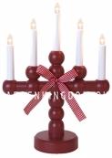 Светильник  с подсвечником BODIL, 5 свечей, 37 см, красный