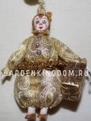 Клоун подвесной малый с подарком, золото
