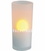 Свеча в стакане, задуваемая, 13,5 см,  пластик, белая