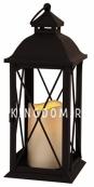 Светильник фонарь  со свечкой на батарейках LANTERN, 32 см, черный