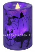 Свеча пластиковая с рисунком,  12 см, фиолетовая