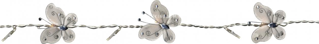 Гирлянда на батарейках Бабочки, белая