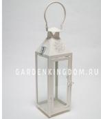 Фонарь - подсвечник, 39,5 см,  металл, стекло, кремовый