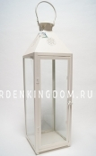 Фонарь - подсвечник, 74 см,  металл, стекло, кремовый