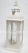 Фонарь - подсвечник, 62 см,  металл, стекло, кремовый