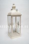 Фонарь - подсвечник, 72 см,  металл, стекло, кремовый