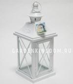 Фонарь - подсвечник, 30 см,  металл, стекло, молочный