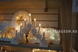 Горка рождественская ЛАПЛАНДИЯ, 7 свечей, 34 см, белый