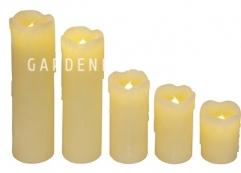 Комплект свечей с эффектом оплавленной свечи, 5 шт., желтый воск