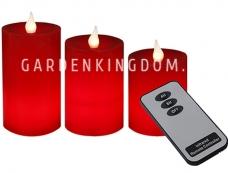 Комплект свечей с таймером и пультом,  3 шт., красный  воск