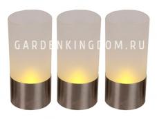 Комплект свечей в стеклянном стакане 3 шт., 10 см, матовое стекло, хром