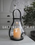 Светильник фонарь  со свечкой на батарейках LANTERN, 21 см, черный