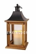 Светильник фонарь  со свечой на батарейках WOODI  LANTERN, 35 см