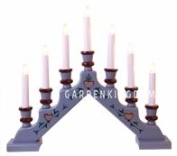 Горка рождественская SARA TRADITION, 7 свечей, 38 см, голубой