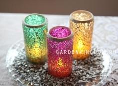 Свеча в мозаичном стакане,  10 см