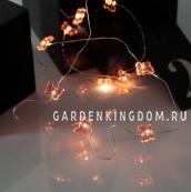 Гирлянда DEW DROP с бабочками, на батарейках, 12 LED ламп, красный