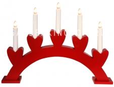 Горка рождественская ANNIE-5, 5 свечей, 31 см, красный