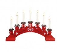 Горка рождественская SANNA-7, 7 свечей, 27 см, красная