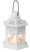 Светильник фонарь изящный со свечкой на батарейках, 13 см, белый