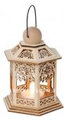 Светильник фонарь изящный со свечкой на батарейках, 13 см, светлое дерево