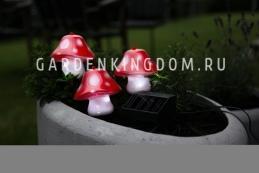 Гирлянда садовых светильников  Мухоморы  Solar energy, 3 штуки
