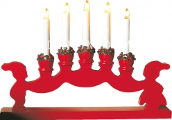 Горка рождественская NISSE DUO, 5 свечей, 30 см, красная