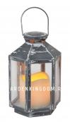 Светильник фонарь  со свечкой на батарейках, 20 см, серый