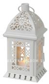 Светильник фонарь ажурный со свечкой на батарейках, 20 см, белый