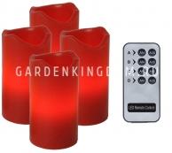 Комплект свечей с пультом, 10 см, 4 шт., красный воск