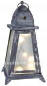 Светильник фонарь FYRIS с гирляндой, 40 см, серый