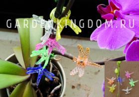 Прищепки для подвязки растений Стрекоза декоративные, пластик,  6 шт